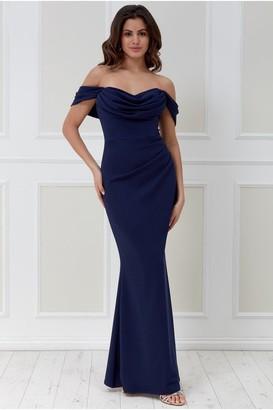 Goddiva Cowl Neck Off the Shoulder Maxi Dress - Navy