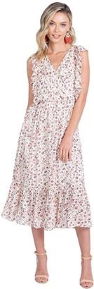 American Rose Summer Sleeveless Faux Wrap Dress (Ivory/Multi) Women's Clothing