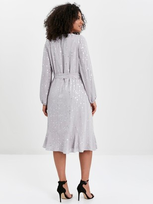 Evans Silver Foil Frill Sleeve Overlay Dress - Grey