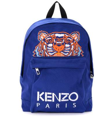 Kenzo Blue Backpack With Tiger And Multicolor Logo