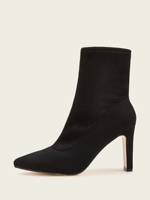 Romwe Point Toe Chunky Heeled Boots