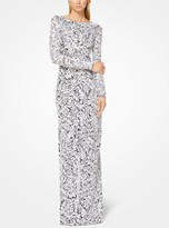 Michael Kors Palm Sequined Stretch-Tulle Gown