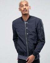 Esprit Quilted Nylon Bomber Jacket In Navy