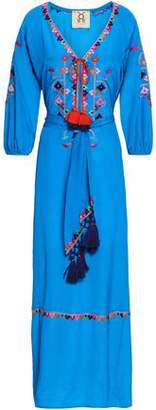 Figue Belted Embroidered Silk Crepe De Chine Maxi Dress