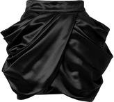 Balmain Wool-Silk Draped Side Skirt in Black