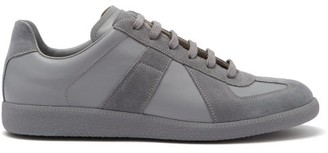 Maison Margiela Replica Suede-panel Leather Trainers - Light Grey