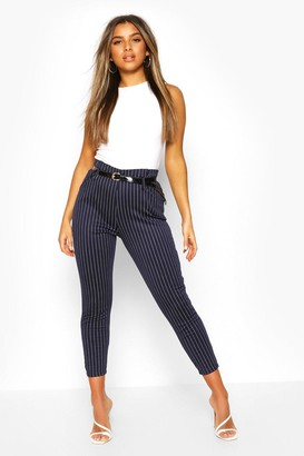 boohoo Petite Belted Pin Stripe Trouser