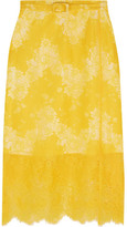 Carven Belted Lace Skirt - Yellow