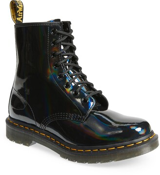 Dr. Martens Black Rainbow Patent Leather Boot