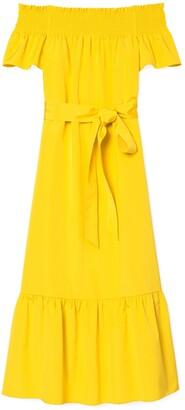 Tory Burch Smocked-Shoulder Tie-Front Dress