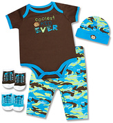 Baby Essentials Black & Teal 'Coolest Kid Ever' Five-Piece Layette Set - Infant
