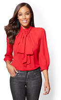 New York & Co. 7th Avenue - Bow-Accent Mock-Neck Blouse