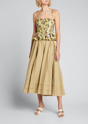Ulla Johnson Effie Floral-Print Tie-Shoulder Peplum Top