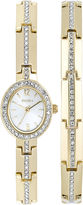 Elgin Womens Gold-Tone and Crystal Watch and Bracelet