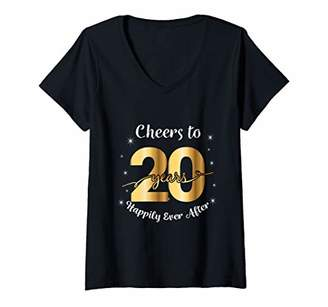 Womens 20th Wedding Anniversary Gift For Couples - 20 Years Married V-Neck T-Shirt