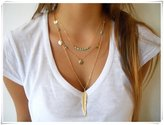 Golf Liquidation Simple feather turquoise beads sequins Multilayer necklace