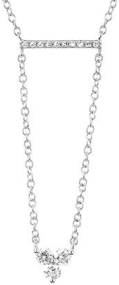 Ef Collection 14K 0.16 Ct. Tw. Diamond Mini Bar Trio Drop Necklace