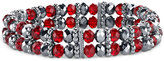 2028 Silver-Tone Red Beaded Stretch Bracelet