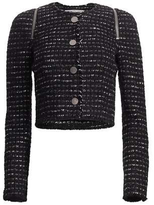 Alexander Wang Zipper-Trimmed Tweed Jacket