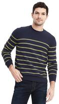 Banana Republic Pima Cotton Cashmere Birdseye Stripe Crew