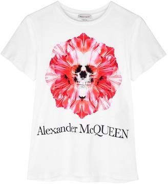 Alexander McQueen White printed cotton T-shirt
