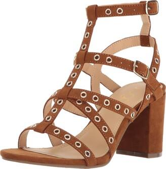 Sugar Women's Rock N Roll Faux Suede Block Heel Dress Sandal with Studs