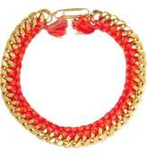 Aurelie Bidermann Do Brasil 18-Karat Gold-Plated And Braided Cotton Necklace