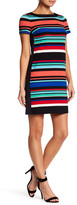 London Times Awning Stripe Side Shift Dress (Petite)