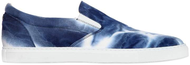 DSQUARED2 Tie Dyed Cotton Canvas Slip-On Sneakers