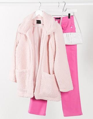 I SAW IT FIRST longline fleece jacket in pink
