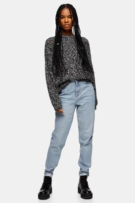 Topshop Womens Petite Bleach Wash Mom Jeans - Bleach Stone
