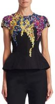 Oscar de la Renta Embroidered Peplum Silk Blouse