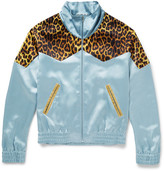 Saint Laurent Leopard-Print Panelled Satin Bomber Jacket
