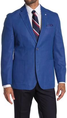Ben Sherman Solid Blue Two Button Notch Lapel Sport Coat