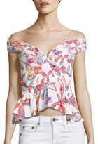 Peter Pilotto Printed Off-The-Shoulder Peplum Top