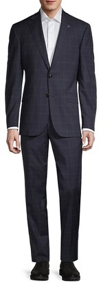 Ted Baker Windowpane Stretch Wool Suit