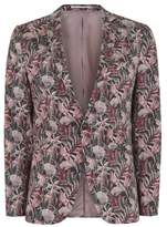 Topman Mens Pink Floral Print Ultra Skinny Fit Suit Jacket