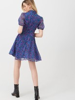 Very Georgette Twist Neck Mini Dress - Floral Print