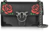 Pinko Love Rose Black Leather Shoulder Bag