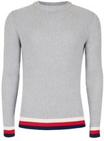 Topman Gray Sports Tipping Textured Sweater
