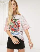 Bershka dragon print t-shirt in tie-dye
