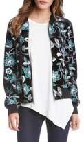 Karen Kane Embroidered Velvet Bomber Jacket
