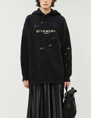 Givenchy Distressed logo-print cotton-jersey hoody