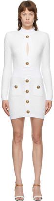 Balmain White Knit Diamond Dress