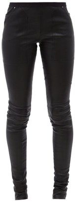 Rick Owens Slim-fit Bonded-leather Trousers - Black