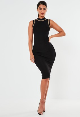 Missguided Black Chain Trim Knitted Midaxi Dress