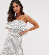 Influence Tall Influence strapless dress with frill detail in stripe