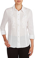 Allison Daley Solid Embroidered Button-Front Blouse
