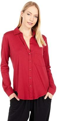 bobi Los Angeles Lightweight Jersey Button-Down Collard Shirt (Bricks) Women's Clothing