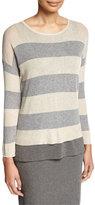 Eileen Fisher Sleek Lyocell/Merino Long-Sleeve Striped Boxy Top